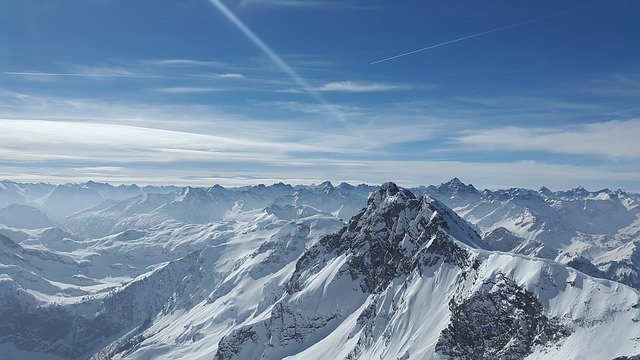 A view of the Alps on a clear day.