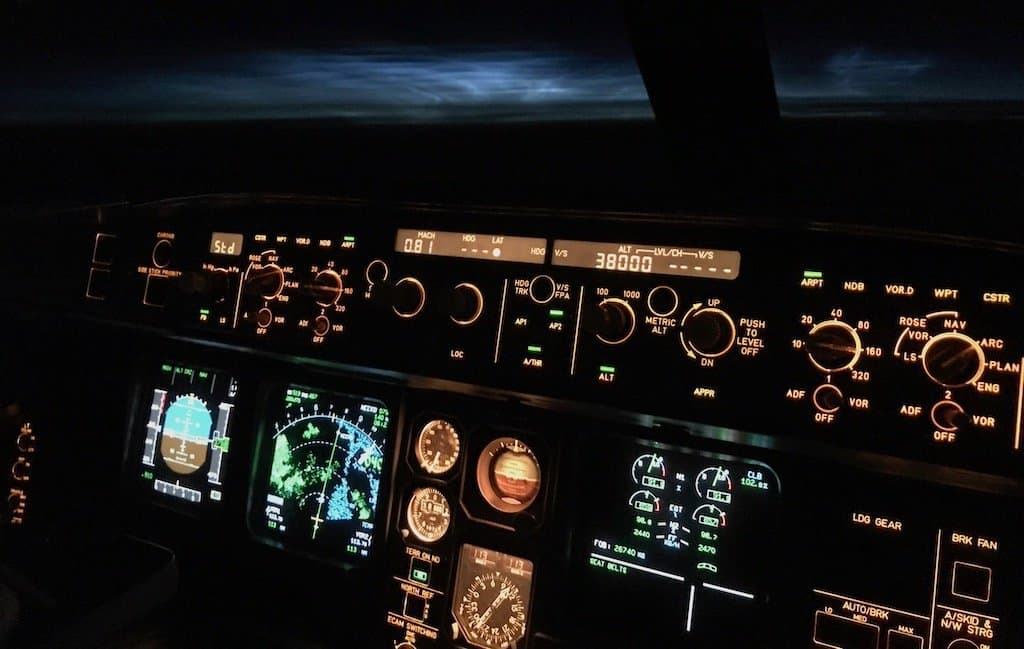 Noctilucent clouds visible from Airbus A330 flight deck